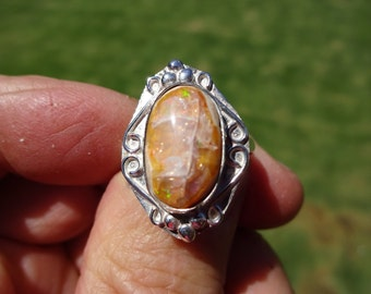 Sterling Silver Mexican Fire Opal Ring - Size 8 1/2