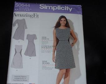 Simplicity 0644 Amazing Fit Dress Pattern  Size 10-18