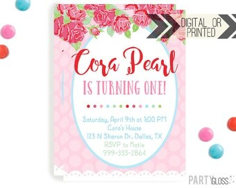 Rose Birthday Party Invitation | Digital or Printed | Garden Party | Vintage Chic Invitation | Floral Invitation | Rose Invite | Shabby Rose