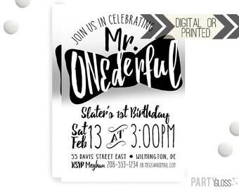 Mr. ONEderful Silver Invitation   Digital or Printed   Mister Onederful Invitation   Mr. Wonderful Invitation    Onederful    Black Silver