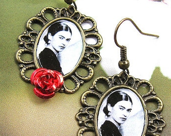 FRIDA KAHLO elegant earrings red roses Day of the dead mexico folk altered art Dia de los Muertos UNIQUE collectible