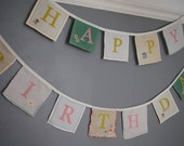 Happy Birthday Bunting. Vintage linen Bunting.  This pieces comes in 2 separate strands.
