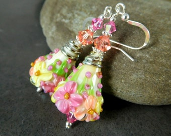 Pink Yellow Peach Ivory Floral Dangle Earrings, Nature Inspired Jewelry, Romantic Earrings Colorful Pastel Glass Botanical, Flowers Lampwork