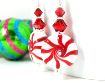 Christmas Earrings, Peppermint Earrings, Holiday Jewelry, Red White Candy Earrings, Lampwork Earrings, Fun Candy Jewelry, Christmas Jewelry