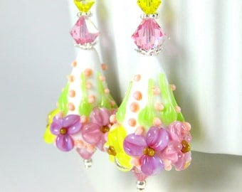 Colorful Pastel Floral Cone Dangle Earrings, Pink Yellow Purple White Glass Earrings Botanical Jewelry Flower Lampwork Earrings Mother's Day