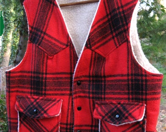 REVERSIBLE SHERPA style AMERICAN made hunting / fishing vest coat jacket in bright red and black plaid