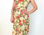 French vintage 1980s does 1950s fruit salad dress with open cross back - small medium - S M