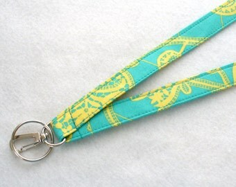 Lark Heirloom Lace Modern Amy Butler Fabric Lanyard ID Badge Holder Breakaway Lanyard Key Ring Fob Lark Turquoise Yellow