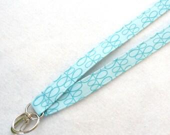 Zen Chic Urban Modern Fabric Lanyard ID Badge Holder Breakaway Lanyard Key Ring Fob Teal Turquoise Blue Leaves Womens Lanyard