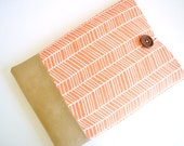 Kindle Sleeve, Amazon Fire 7 Case, iPad Mini Cases, Custom Fit Padded - Orange Herringbone with Faux Suede Bottom