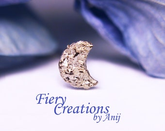 """Nose Screw / Tragus stud  """"Glittering Cresent Moonscape"""" - Sterling Silver, OOAK"""