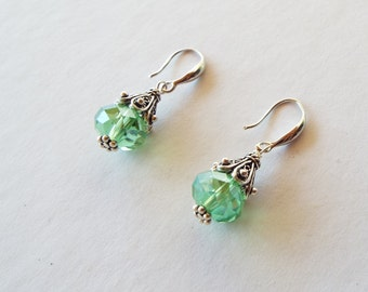 Green Swarovski crystal and sterling silver earrings