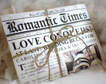 Newspaper Wedding Invitations   Romantic Times   Vintage   News   Unique Invitation   Ivory   Twain   Photo   Sepia   Brown   Ivory
