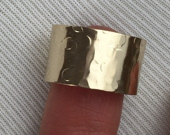 Gold Cigar Band Ring 14K Gold Filled Hammered Metal Champagne Collection