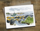 """Blue Rocks Card 4.25"""" x 5.5"""" Watercolour Blank Card with Envelope"""
