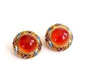 Chinese Export Earrings, Vintage Gilt Silver Earrings, Carnelian Enamel Filigree Clip Earrings, Asian Export Jewelry, Floral Enamel Filigree