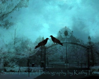Surreal Gothic Raven Print, Haunting Ravens Crows Gate Photography, Gothic Ravens Gate Wall Art Print, Surreal Halloween Raven Crows Gate