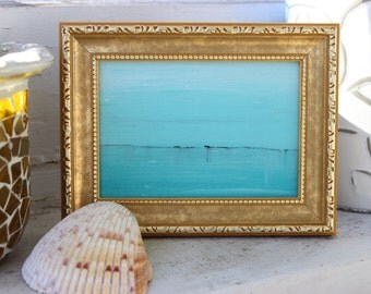 Original Fine Art Seascape in Gold tone Frame , Coastal Home Decor