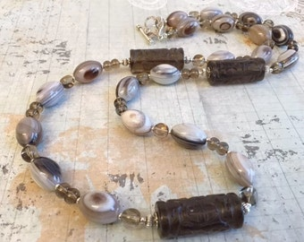 Christmas in July Sale Banded Agate and Grey Glass Necklace Earring Set, Earthy, Warm, Grey, Brown