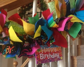 Happy Birthday Garland with ornaments,Birthday Decoration,Fabric Garland,Home Decoration,Party Decoration,Bright and Fun Birthday Hanger