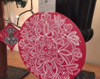 Hand painted lace ornament large