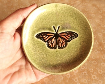Ceramic BUTTERFLY Ring Dish - Handmade Stoneware Monarch Butterfly Dish / Tea Bag Holder - Wedding Ring Dish - Ready To Ship