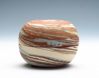 Swirly Blended Clay Covered Jar/Jewelry Box/Small Urn / Pottery Box