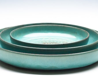 Aqua Green Ceramic Bowl Set / Fruit Bowl / Serving Bowl