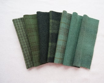 Deep Green - Forest - Blue Spruce - Green Hand Dyed Felted Wool - Rug Hooking, Quilting, Applique