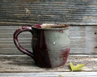 Awesome Vintage Handmade Large Rustic Pottery Mug / Cup In Dark Wine and Gray