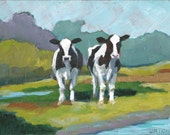 Digital download art - Printable fine art instant download print - 2 Cows in field, from original oil painting