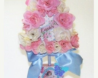 ON SALE Easter, Home Decor, Holiday, Decoration, Mixed Media, Pink, Blue, Easter Egg, Pink Roses, Gifts for Her, French Country, Shappy Chic