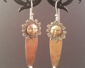 Sun Goddess Copper and Bronze Earrings