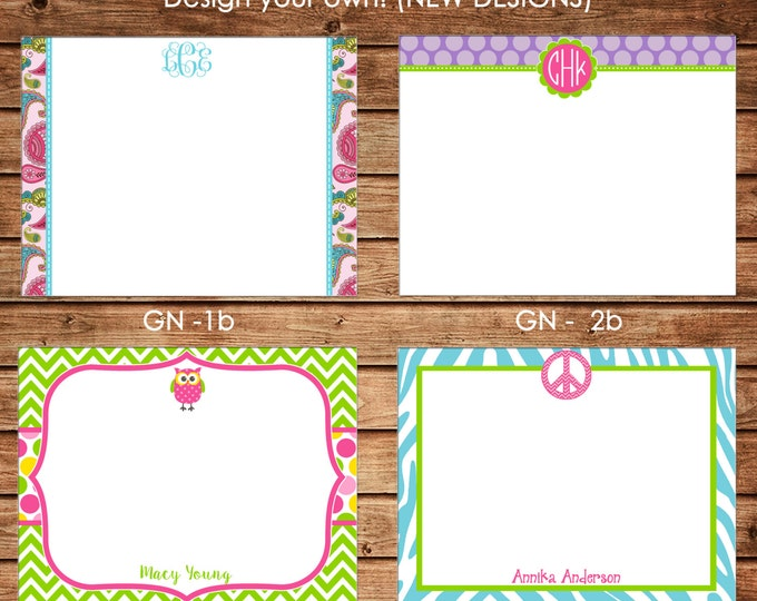 New Designs - Personalized Girl Flat Notes Notecards Stationery with Envelopes - Design your own - Choose ONE DESIGN