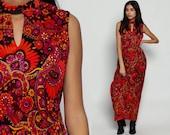 70s Maxi Dress Psychedelic Print Boho Keyhole Hippie Choker Neck Paisley 1970s Sleeveless Orange Vintage High Waist Bohemian Large