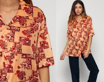 Floral Shirt Button Up Blouse 70s Disco Top Hippie Short Sleeve Geometric Print 1970s Boho Vintage Collared Hipster Bohemian Orange Large xl