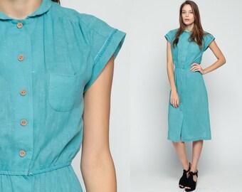 High Waisted Dress 70s Shirtwaist Button Up Blue Green Secretary Slouch Boho 1970s Collar Preppy Cap Sleeve Vintage Cotton Small Medium