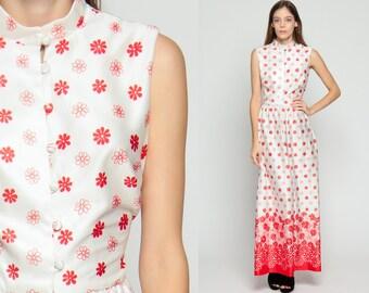 70s Maxi Dress FLORAL Print High Waisted DAISY Boho Flower Power Button Up 1970s Hippie Vintage Red White Sleeveless Bohemian Medium