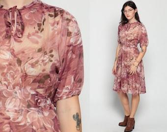 Ascot Dress 70s FLORAL Boho Midi Necktie Secretary High Waist Watercolor Bohemian Keyhole Bow Pink 80s Vintage Short Sleeve Small Medium