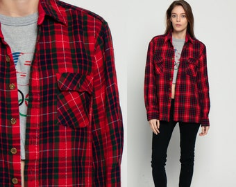 Red Plaid Shirt Oversized Flannel Shirt 80s Grunge Button Up Green Blue 70s Lumberjack Vintage Long Sleeve Button Down Medium Large