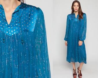 Bohemian Dress 70s Metallic Gold SEQUIN Cotton Gauze Sheer Festival Trapeze Hippie Boho Blue Midi Vintage Puff Sleeve Large