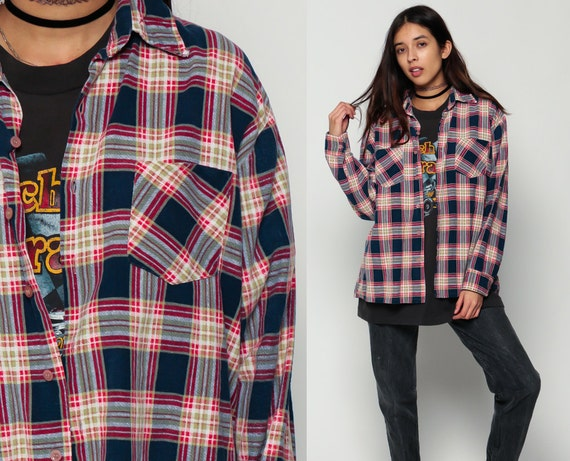 Grunge flannel shirt navy plaid shirt 90s 80s button down up for Navy blue and red flannel shirt