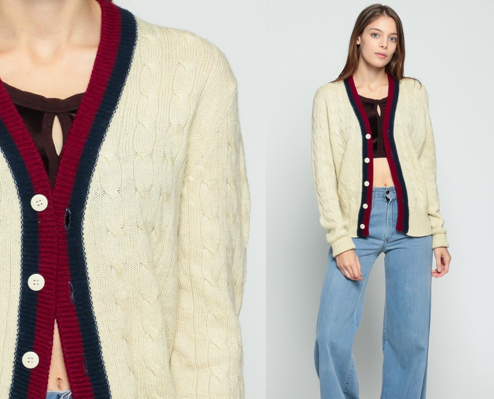 Tennis Cardigan Cable Knit Sweater Cableknit Striped Knit Up