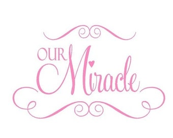 ON SALE Our Miracle Vinyl Wall Decal - Baby Nursery Vinyl Wall Lettering Decal Saying Poem 22H x 36W Ba0020