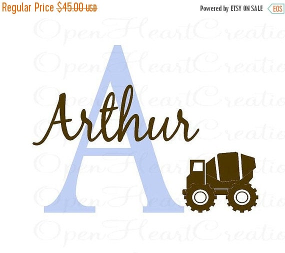 ON SALE Initial and Name Wall Decal with Construction Cement Truck Clip Art - Baby Nursery Boy Transportation - 22h x 36w INA0012