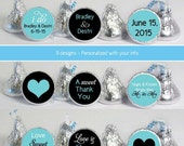 216 Custom Candy Labels Turquoise Black Hearts Wedding Favors Decoration Stickers | Custom Sticker Labels | Wedding Supplies and Decor No.k6