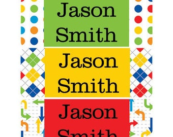 30 Custom colorful boy Name Stickers | Personalized Waterproof Labels | Kids School Supplies No.N24