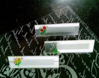 Vintage Name Place Cards Mirrored Glass Floral Table Setting Decor