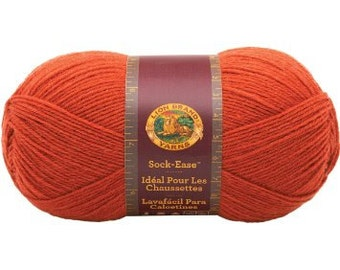 Lion Brand Sock-Ease Yarn in Circus Peanut orange Color