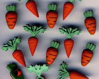 CARROT CROP - Easter Bunny Rabbit Allotment Vegetables Dress It Up Craft Buttons